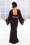 ANGELINA Sequin batwing backless evening gown