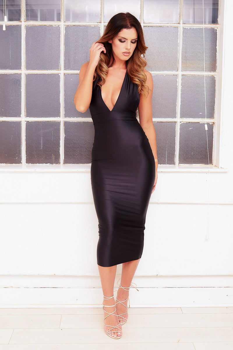 ELLE deep plunge racer back satin black bodycon maxi dress