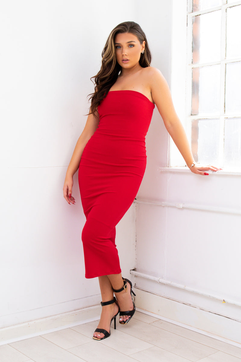 EVA red strapless boobtube bodycon maxi
