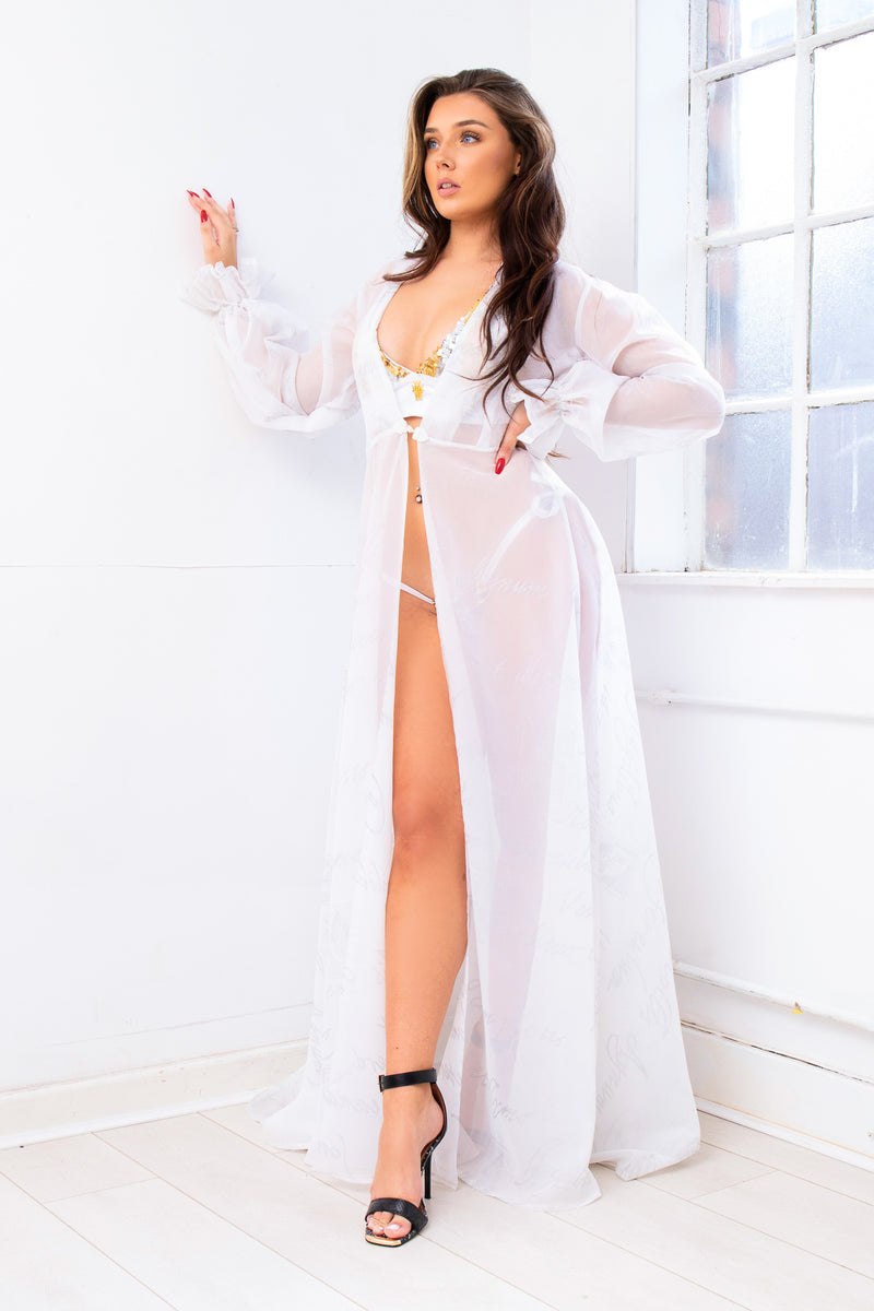 Script white sheer bridal beach gown cover up