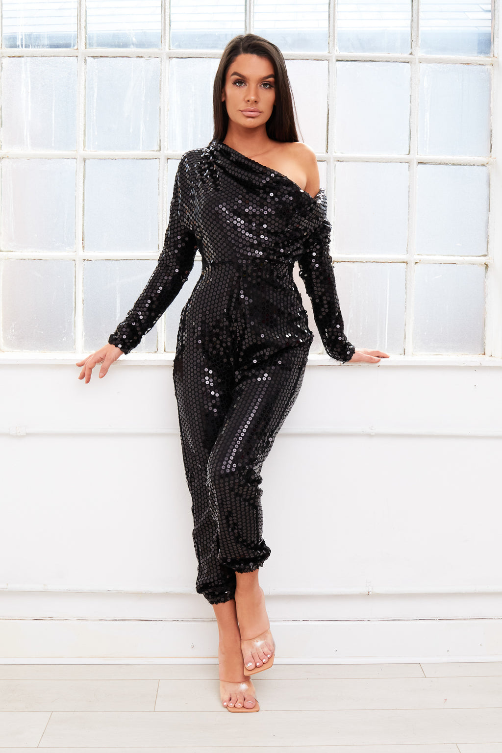 CRYSTAL off shoulder bardot sequin jumpsuit
