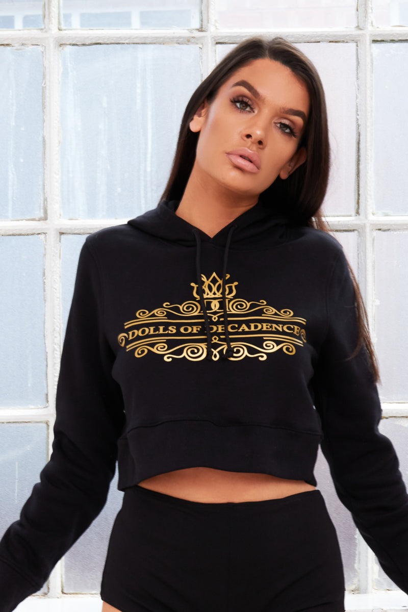 Signature branded cropped ladies hoodie