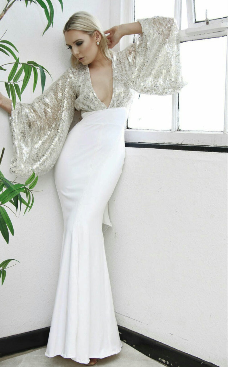 white and gold backless sequin bridal evening gown by dolls of decadence