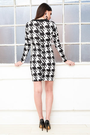 back of the black and white houndstooth dress by Dolls of Decadence