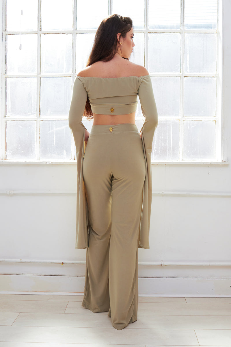 COCO sage green off shoulder floor length sleeves trouser set