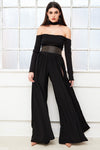 GLIDE High waist wide leg palazzo trousers with high slit