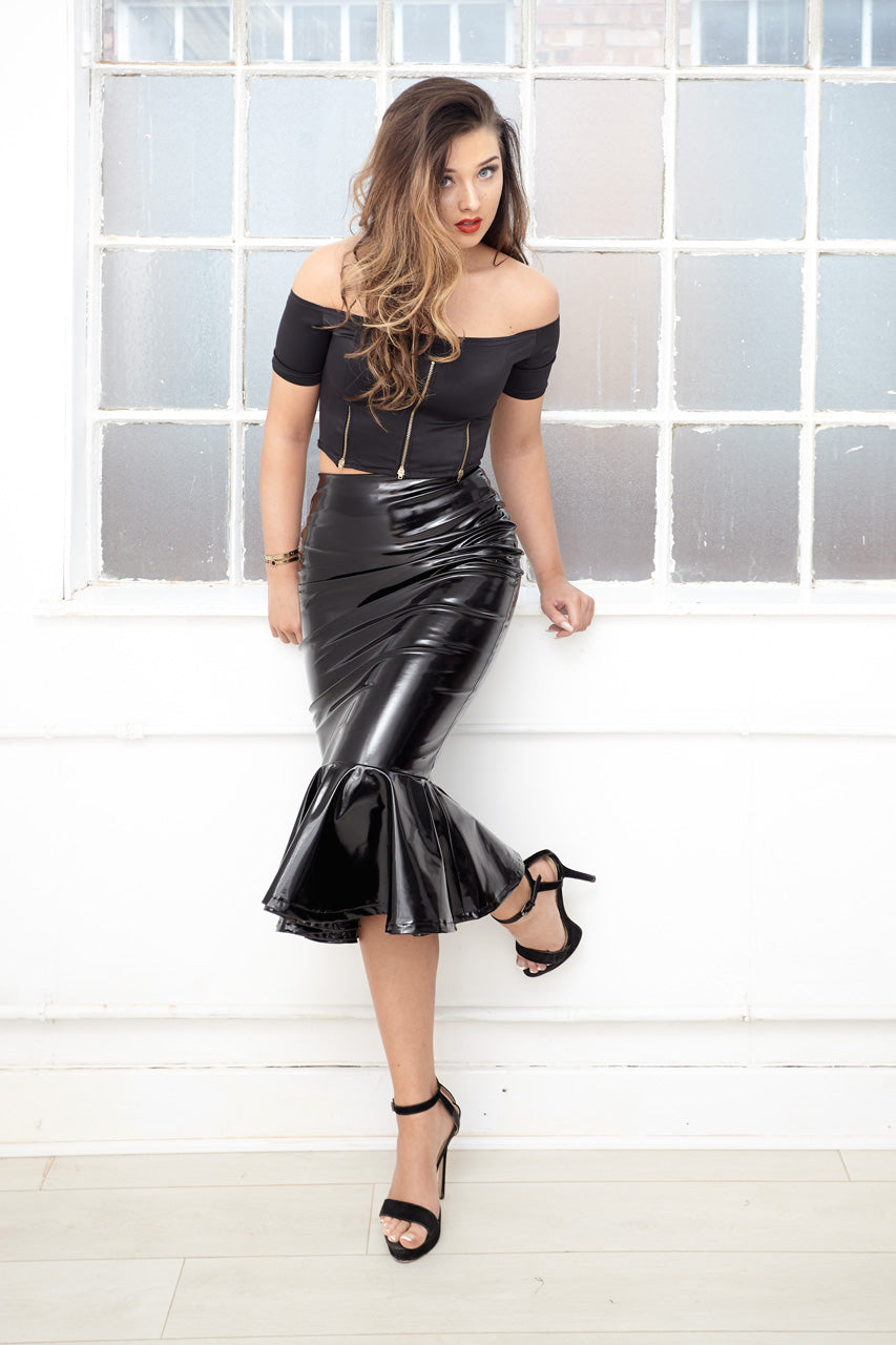 LILLETH vinyl pvc peplum pencil skirt