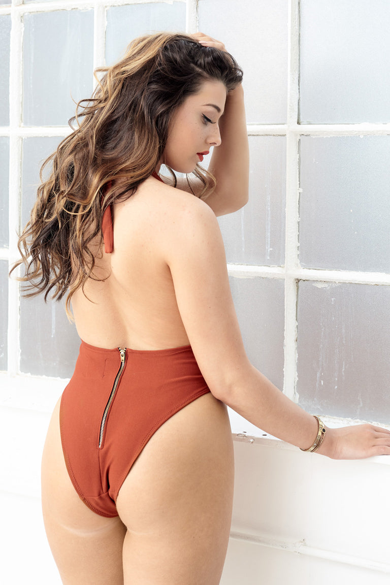 MODA zipper one piece halter swimsuit