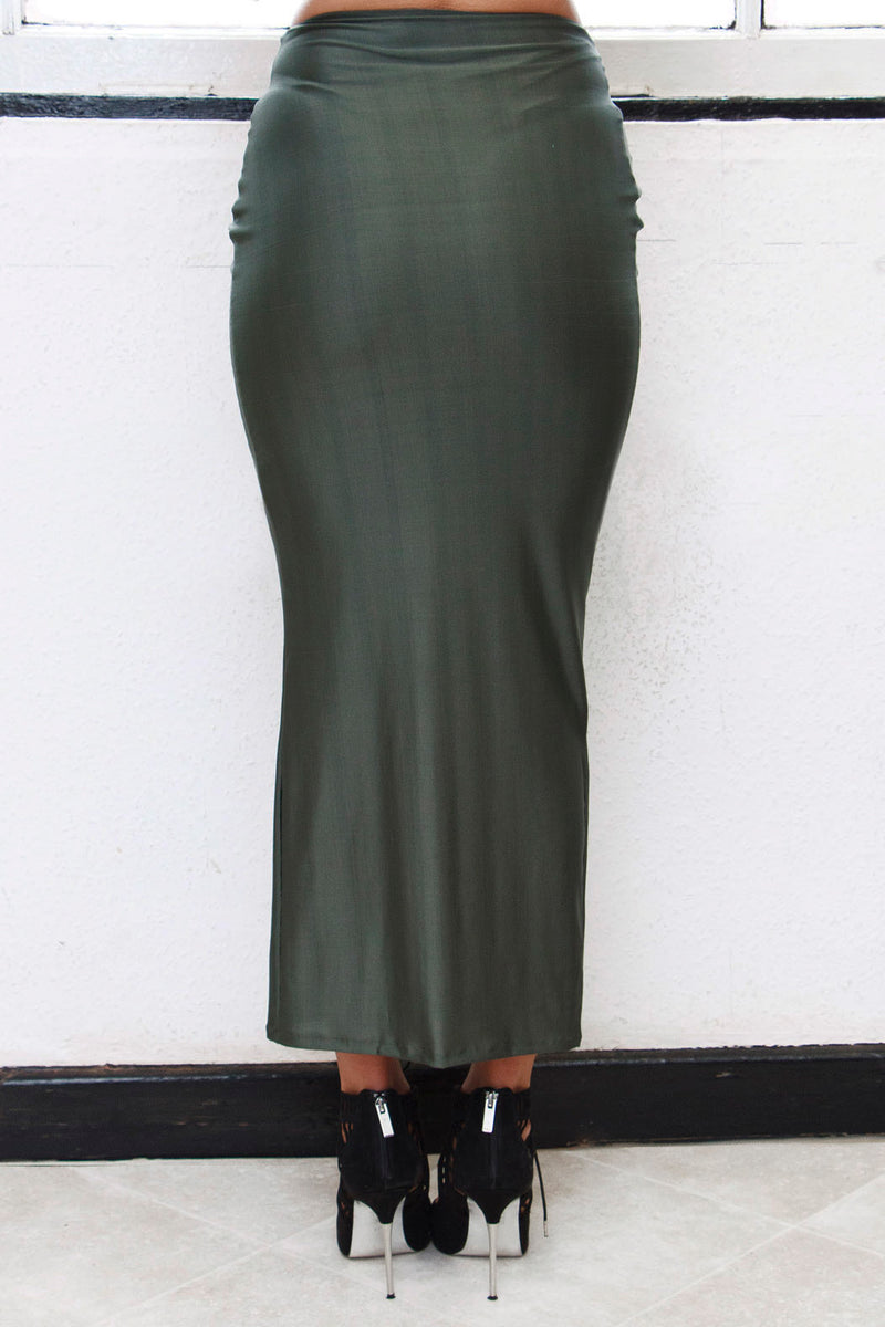 SLITHER Soft sheen slinky jersey maxi skirt