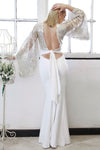 white andback of the  gold backless sequin bridal evening gown by dolls of decadence