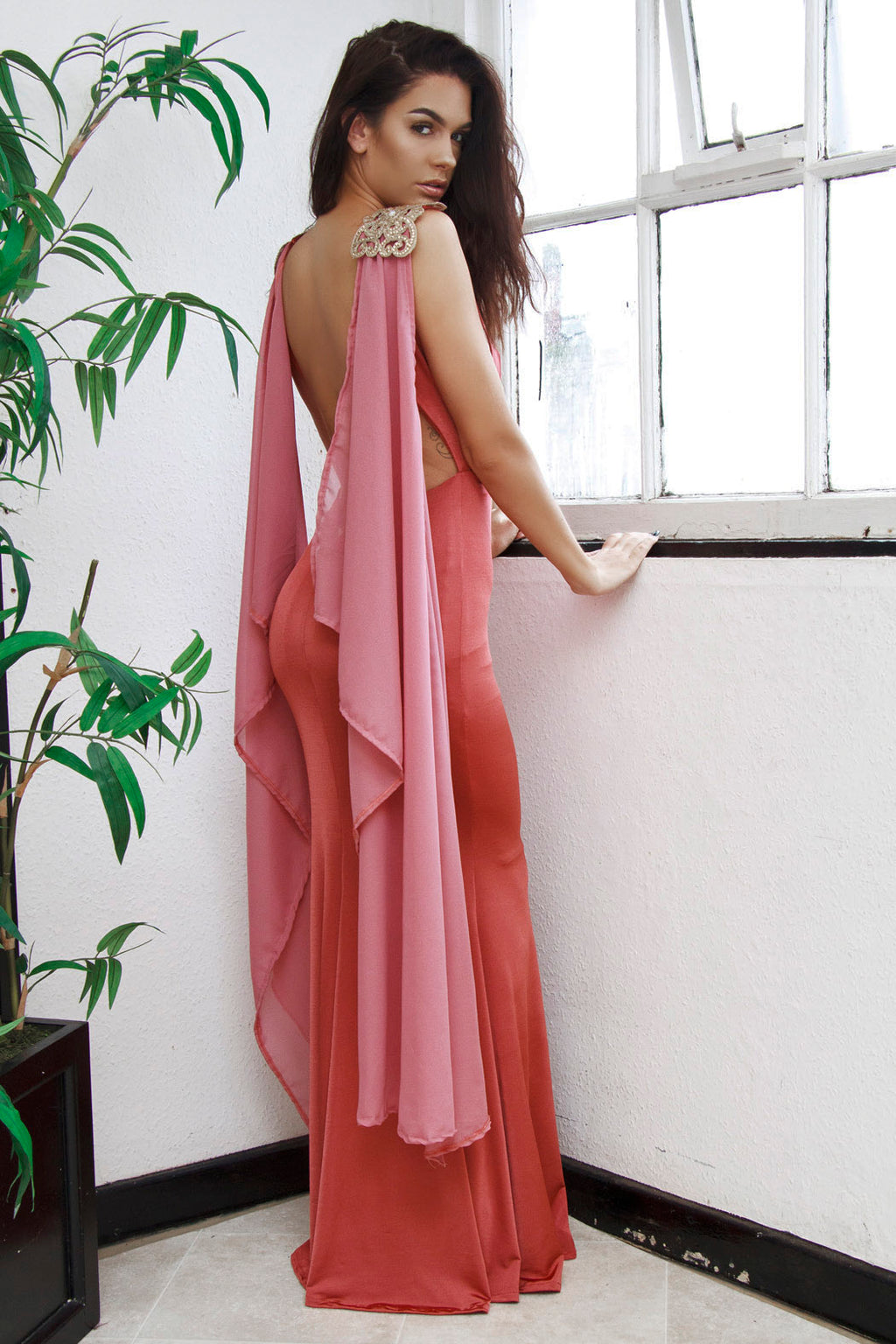 Gretchen backless Grecian evening prom gown