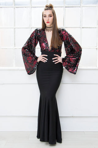 CHER champagne sequin brocade lace evening gown