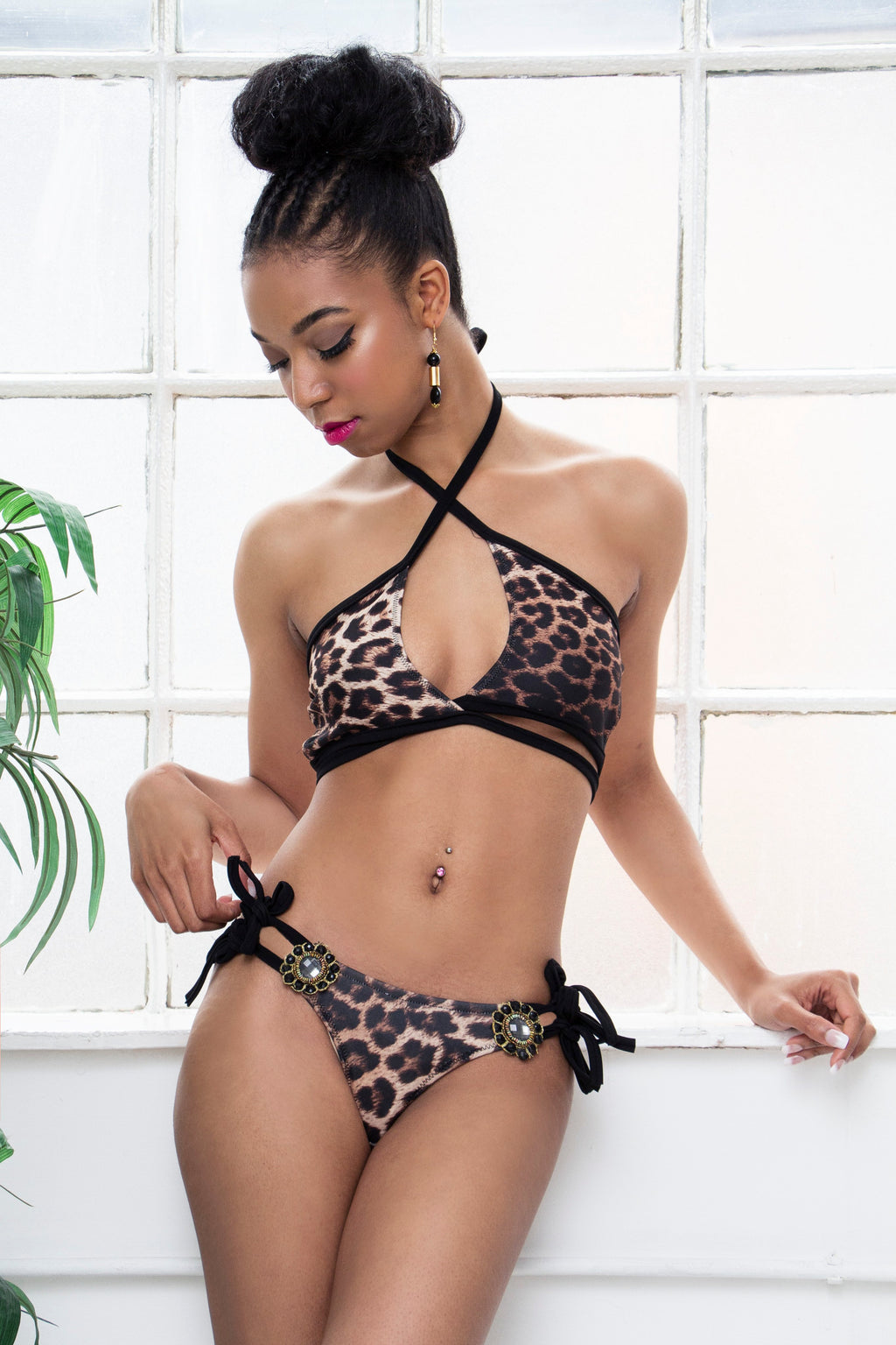 DENIER leopard print jewelled Brazilian cut bikini set