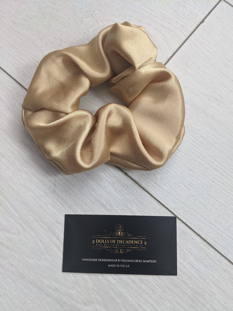 CHAMPAGNE BLUSH luxury oversize handmade satin scrunchie gift set