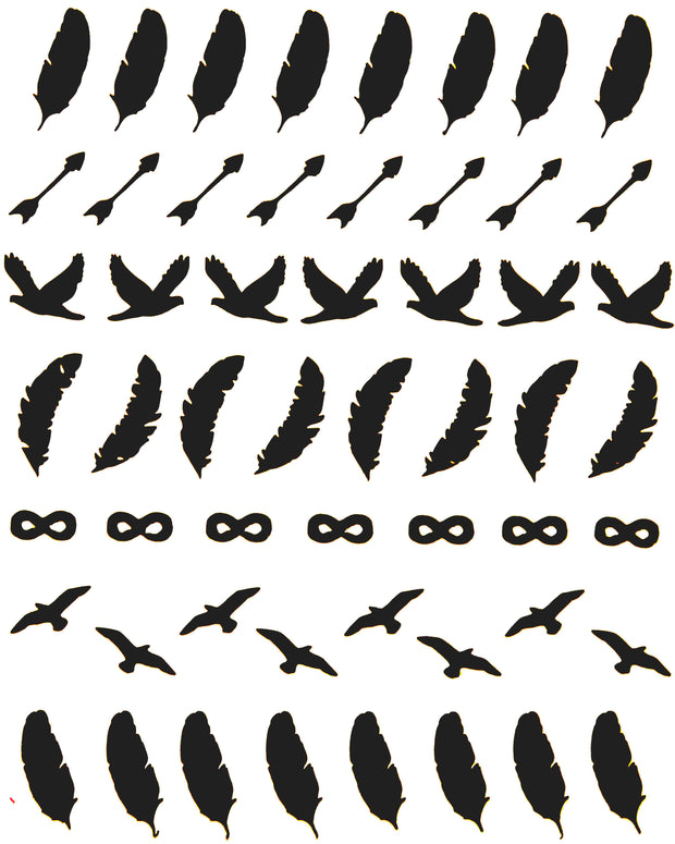 nail sticker sheet featuring feathers. birds, and arrows, by sudosci
