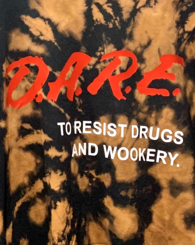 "bleach dyed shirt with ""DARE"" graphic by sudosci"