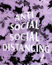 "tie dyed shirt featuring ""anti social social distancing"" graphic by sudosci"