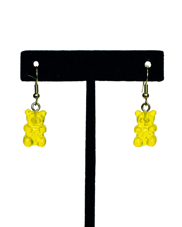 Yellow gummy bear earrings, made by sudosci