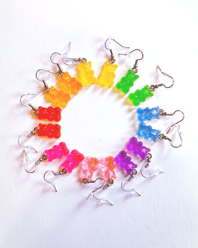 gummy bear earrings in various colors, made by sudosci