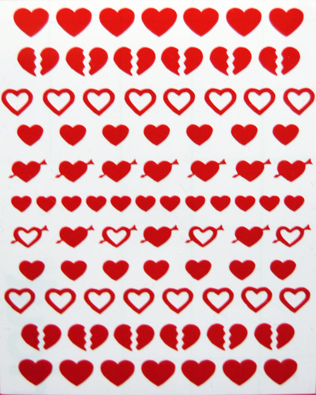 nail sticker sheet featuring hearts and broken heart designs made by sudosci