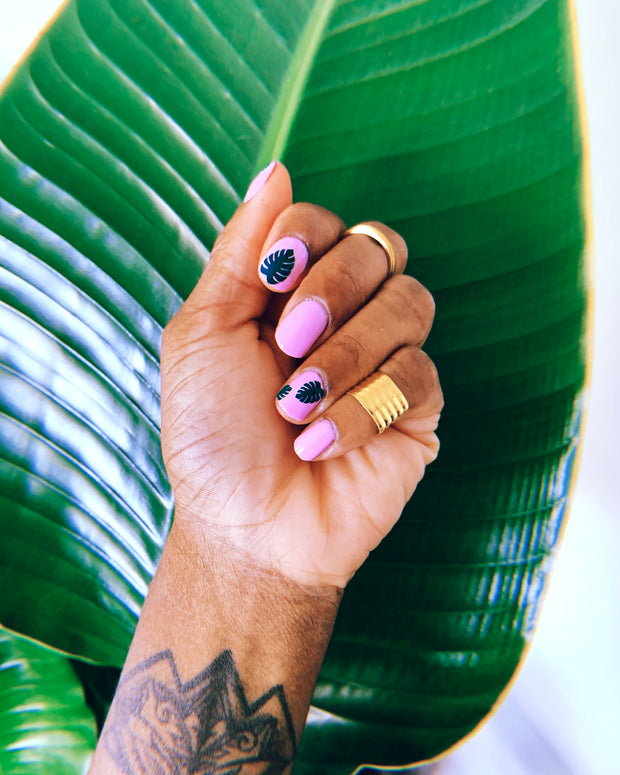 pink manicure featuring leaf nail stickers made by sudosci