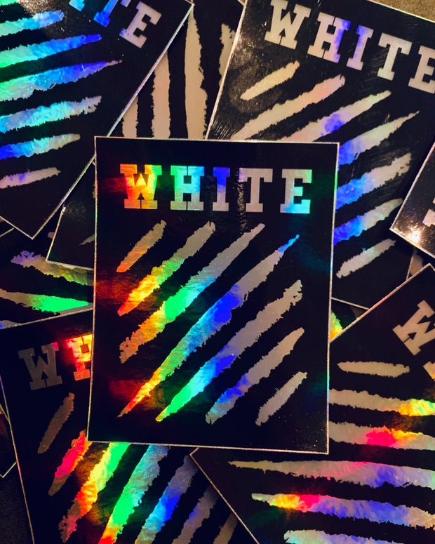 "holographic sticker with ""white"" text and diagonal lines graphic by sudosci"