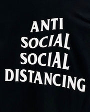 "black shirt featuring ""anti social social distancing"" graphic by sudosci"
