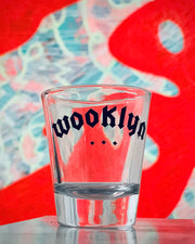 shot glass with wooklyn graphic, made by sudosci