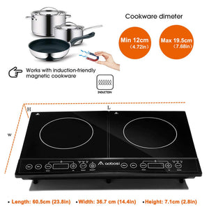 Double Induction Hob 2 Zone Portable Electric Cooker