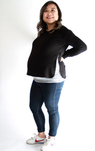 MALOU Motherhood - The PIA sweatshirt is a maternity and nursing friendly sweatshirt for pregnancy and post partum. Ethically made in Calgary, Canada with premium sustainable fabrics - bamboo rayon and organic cotton.