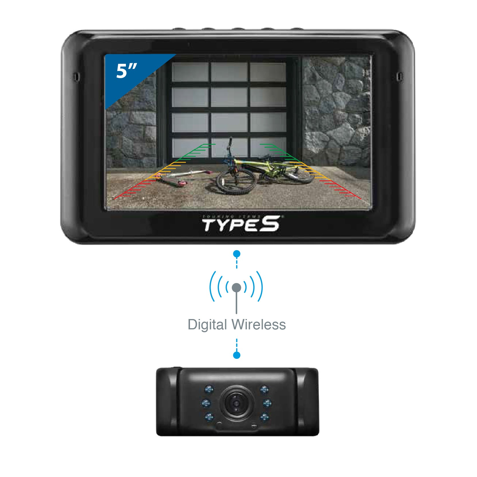 "Solar Powered HD Quick-Connect Wireless Backup Cam with 5"" Hand Wave"