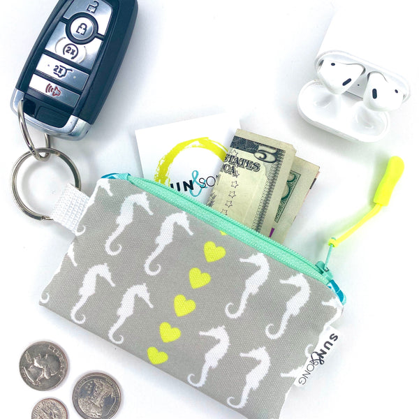 Grey Seahorse Love Key Chain Wallet