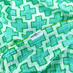 aqua swiss cross organic cotton baby blanket