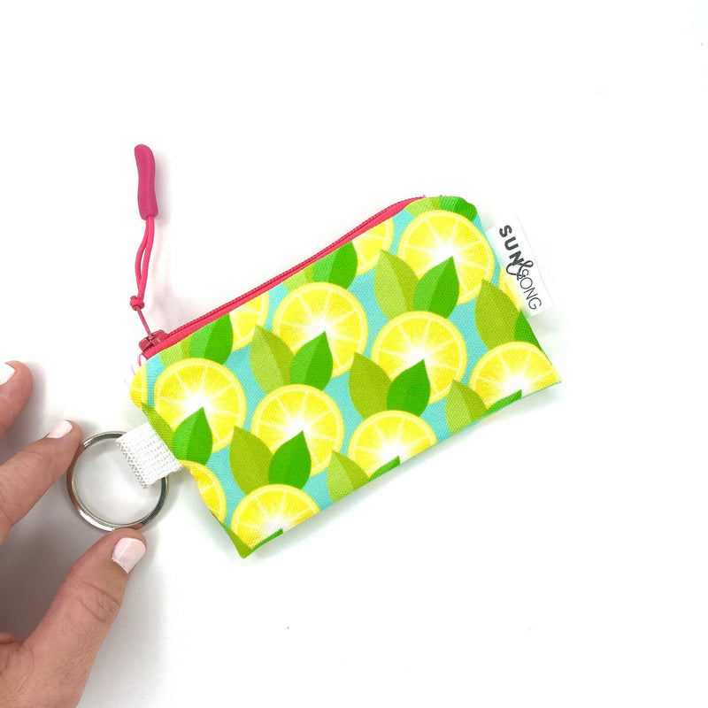 yellow lemon key chain zipper pouch