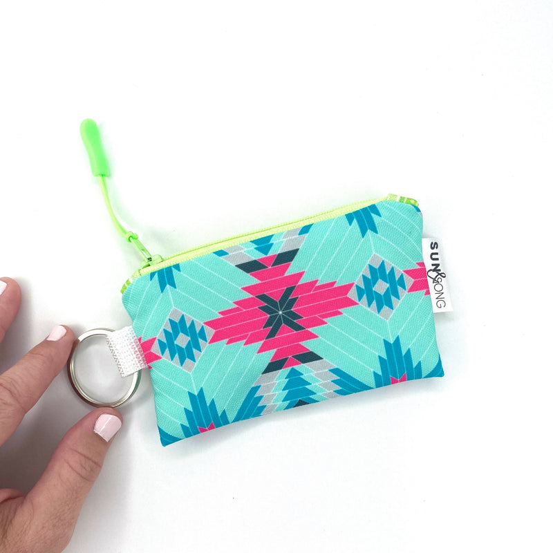 aqua pink aztec key chain credit card case