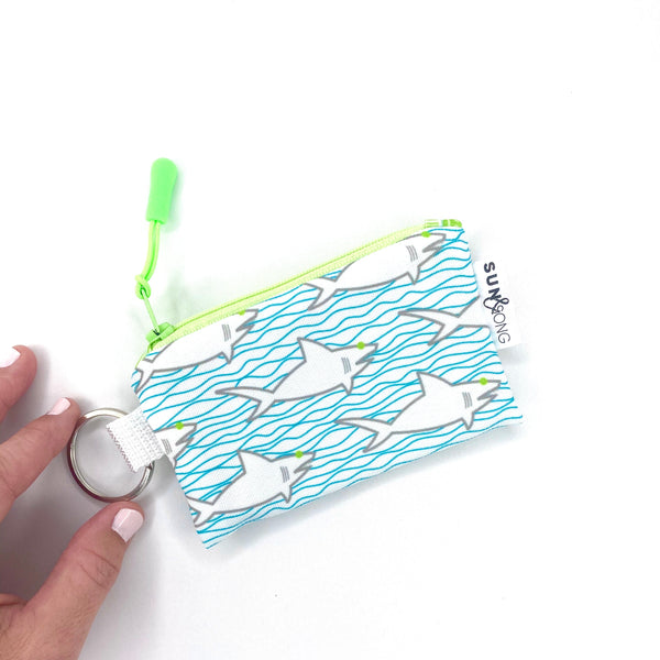 sharks and waves small zipper pouch with key ring