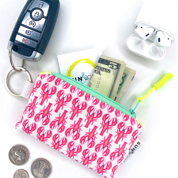 Pink Lobsters Key Chain Wallet