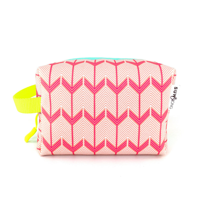 Pink Chevron Arrows Boxy Toiletry Bag