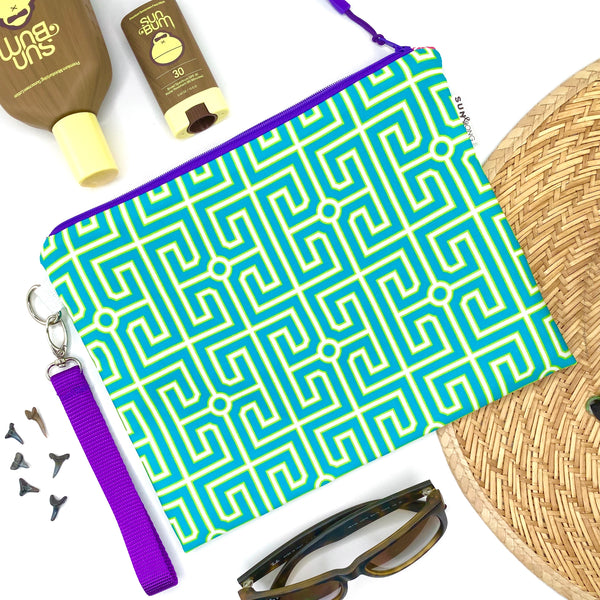 Turquoise Greek Key Wet Bag