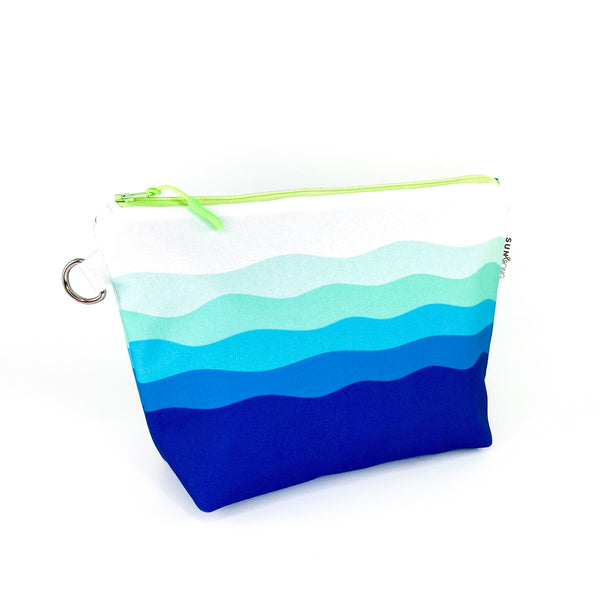 blue waves stand up cosmetic pouch
