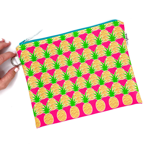pink aloha pineapple waterproof wet bikini bag