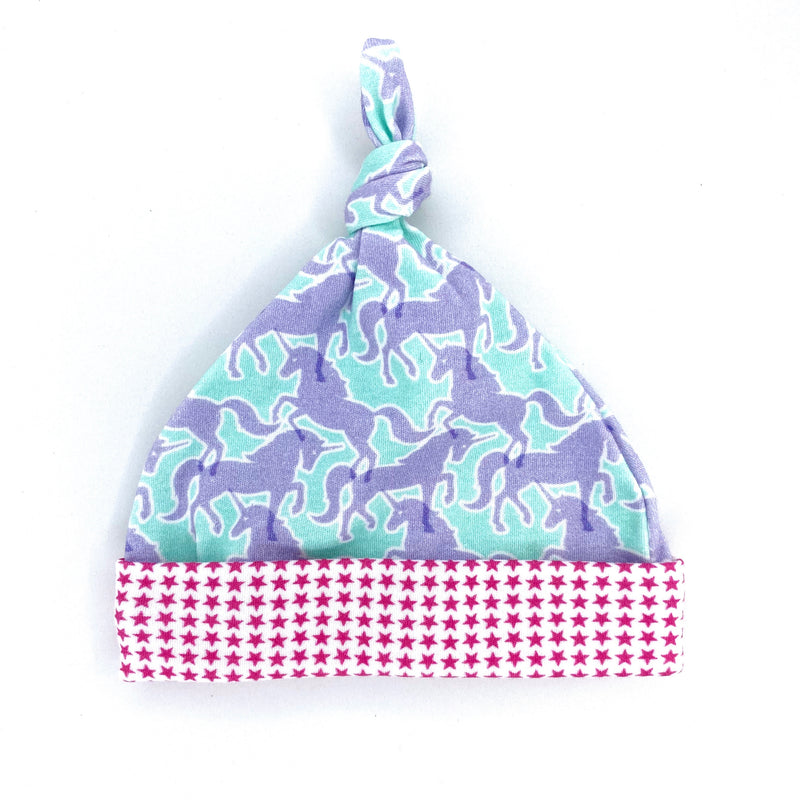 Lavender Unicorns Organic Cotton Knit Swaddle Blanket & Hat Set