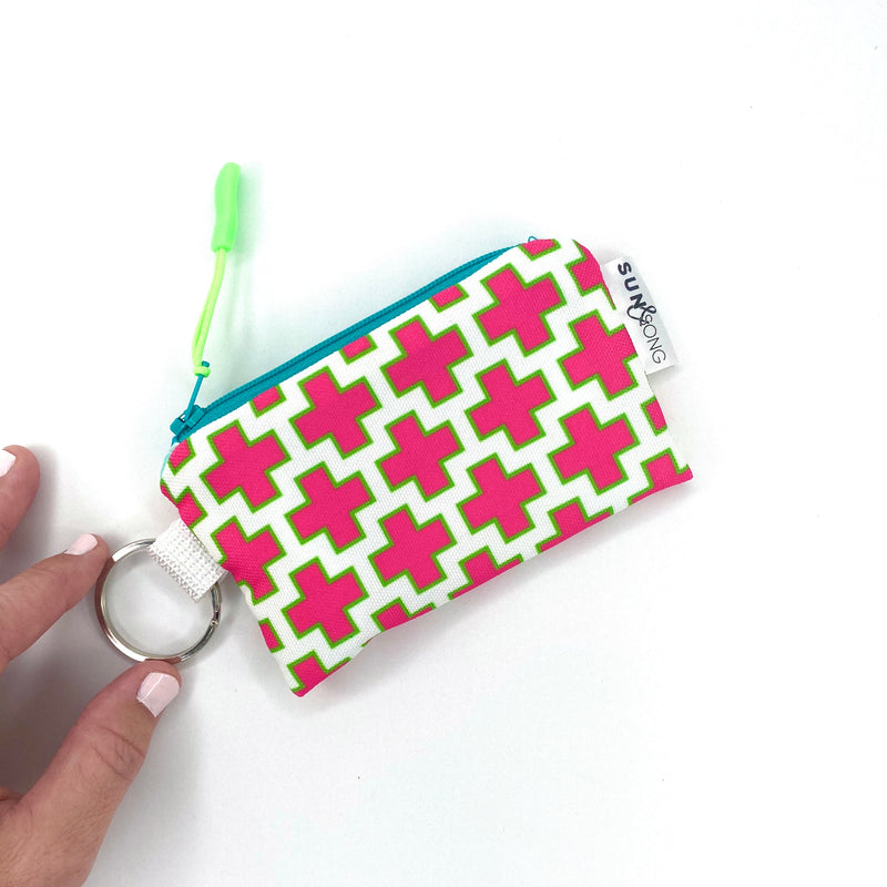 pink swiss cross key chain coin pouch