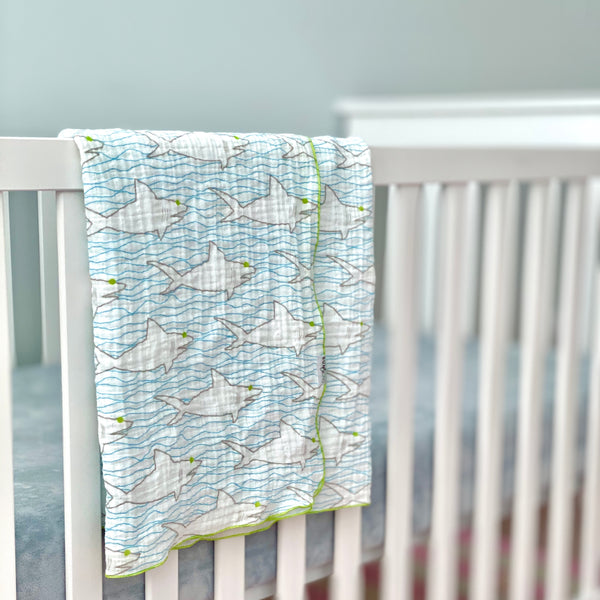 Sharks & Waves Organic Cotton Muslin Baby Blanket