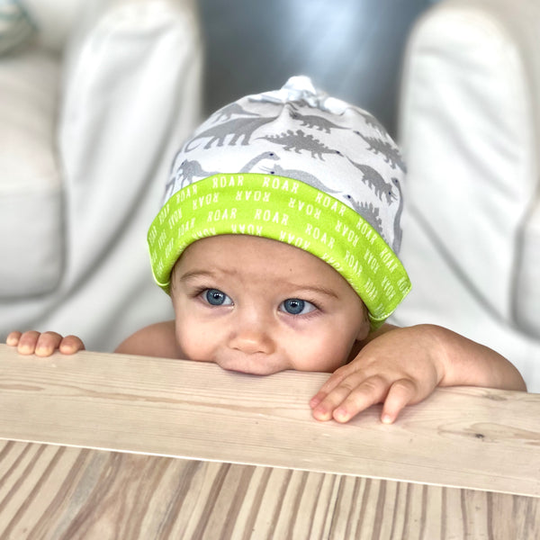 Grey Dinosaurs Organic Cotton Knit Baby Hat