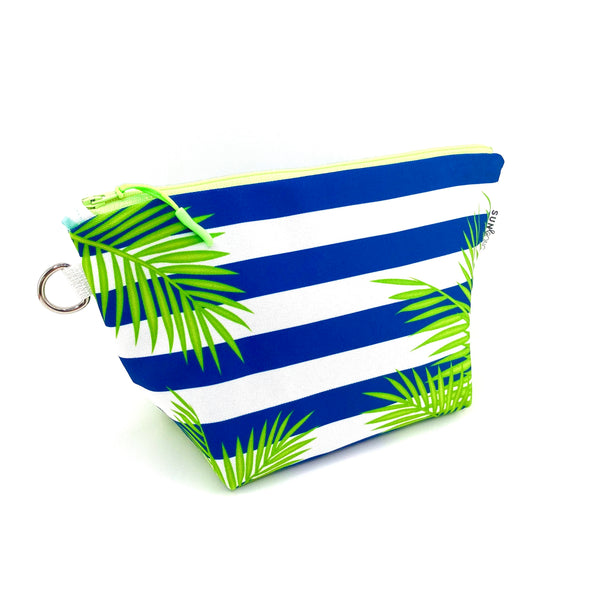 navy stripe palm frond stand up cosmetic pouch