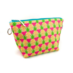 pink aloha pineapple waterproof stand up makeup bag