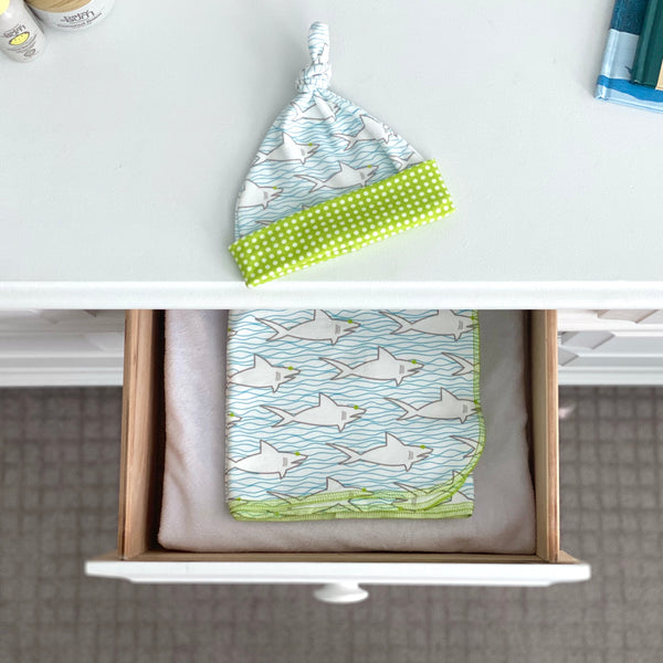 Sharks & Waves Organic Cotton Knit Swaddle Blanket & Hat Set