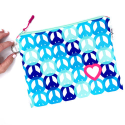 blue peace and love waterproof bikini bag