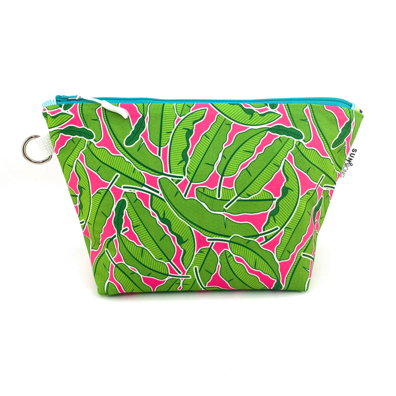 Pink Banana Leaves Makeup Bag